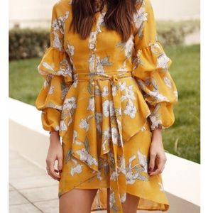 chriselle x joa yellow floral dress